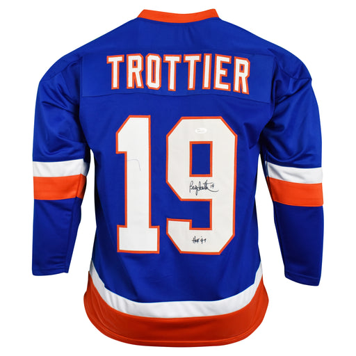 Bryan Trottier Signed New York Blue Hockey Jersey HOF 97 Inscription (JSA)