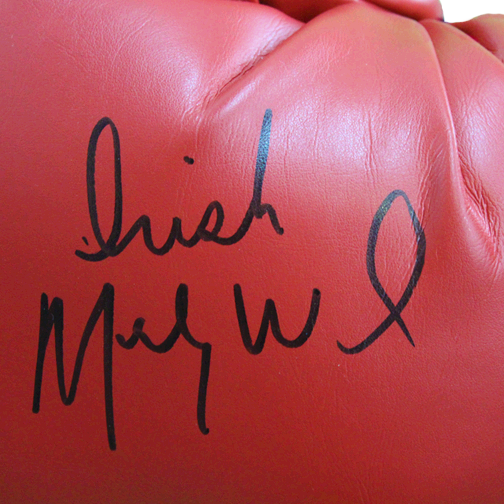 Irish Micky Ward Autographed Red Boxing Glove JSA