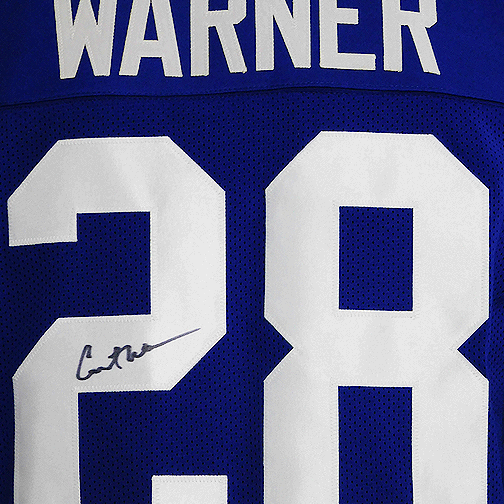 Curt Warner Signed Pro Edition Football Blue Jersey (JSA)