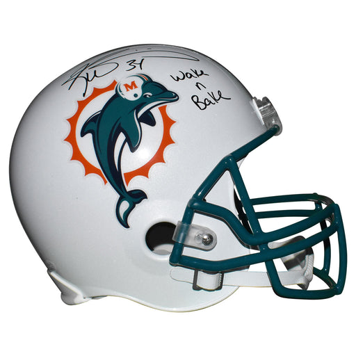 Ricky Williams Signed Wake N Bake Inscription Miami Dolphins Full-Size Replica White Football Helmet (JSA)