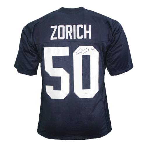 Chris Zorich College Style Autographed Football Jersey Blue (JSA)