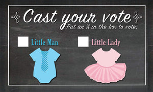 Pink or Blue Confetti Cannon with 20 Fun Cast Your Vote Cards