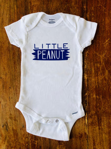 Little Peanut - Gerber brand onesie available in sizes from 0-24 months.