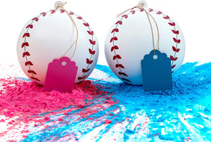 2 Gender Reveal Baseballs - Pink or Blue