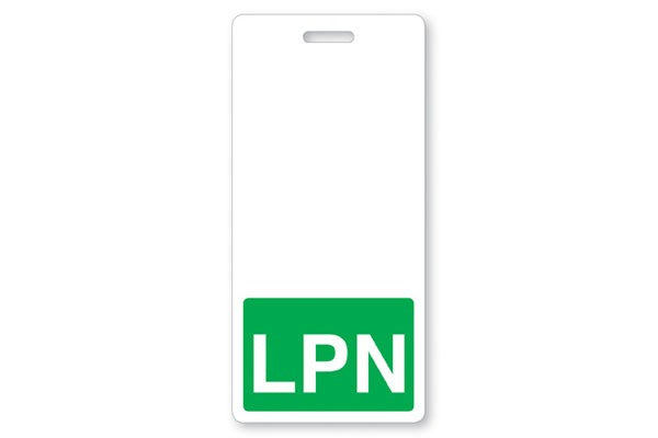 "GRV-1350-2135 Vertical ""LPN"" Badge Buddies, Green (2 1/8"" X4 1/2"")"