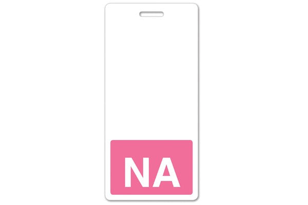 "GRV-1350-2136 Vertical ""NA"" Badge Buddies, Pink (2 1/8"" X4 1/2"")"