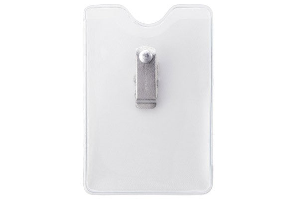 "1809-1200 Clear Vinyl Vertical Badge Holder with Brady Clothing-Friendly™ Clip, 2.38"" x 3.5"""