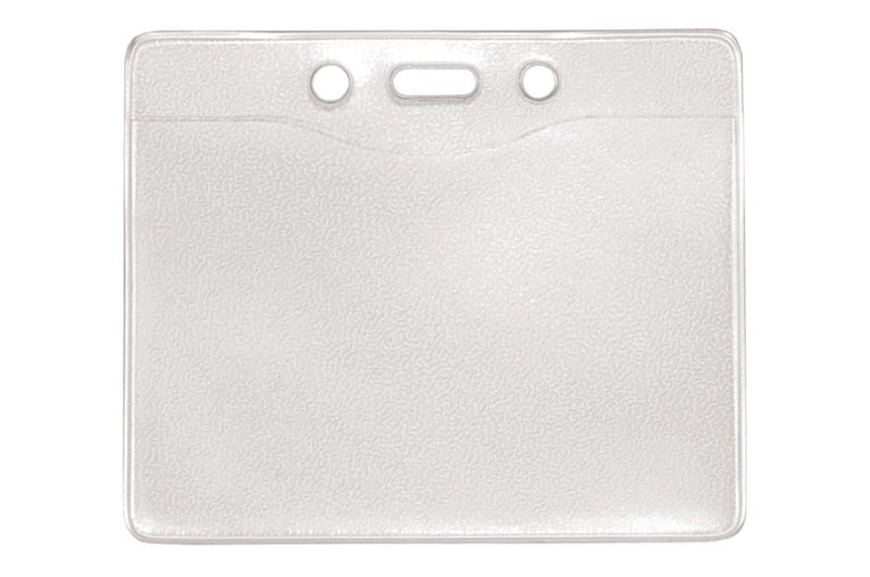 "1815-1000 Clear Vinyl Horizontal Badge Holder with Slot and Chain Holes, 3.3"" x 2.5"""