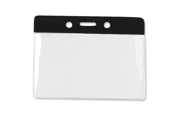 "1820-1101 Clear Vinyl Horizontal Badge Holder with Black Color Bar, 3.85"" x 2.68"""