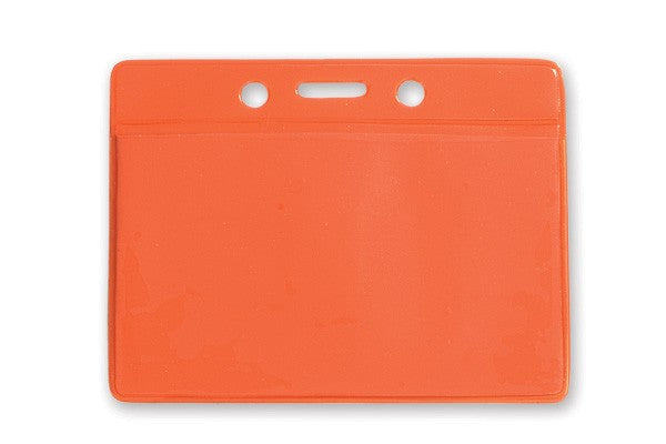 "1820-2005 Clear Vinyl Horizontal Badge Holder with Orange Color Back, 3.5"" x 2.13"""