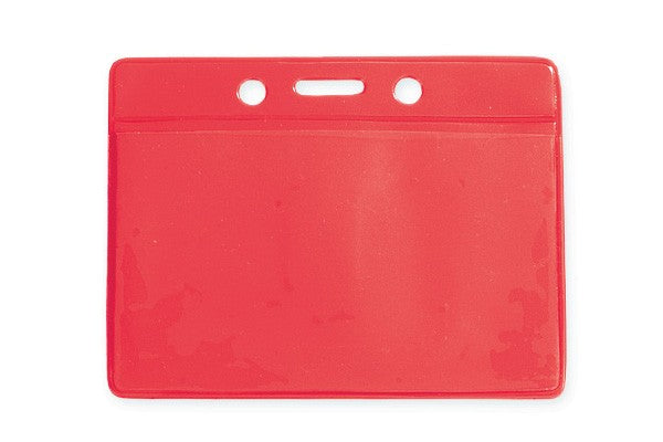 "1820-2006 Clear Vinyl Horizontal Badge Holder with Red Color Back, 3.5"" x 2.13"""