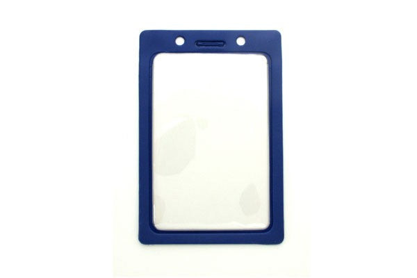 "1820-3002 Clear Vinyl Vertical Badge Holder with Blue Color Frame, 2.25"" x 3.44"""