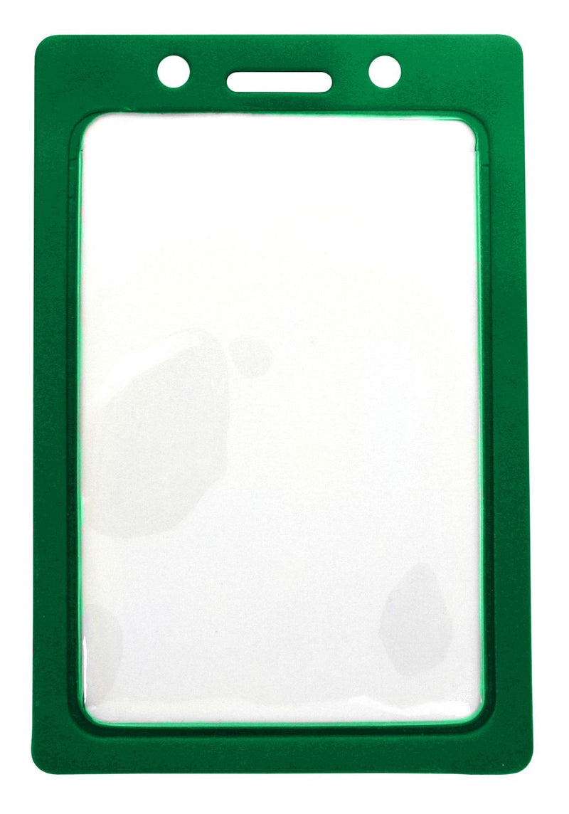 "1820-3004 Clear Vinyl Vertical Badge Holder with Green Color Frame, 2.25"" x 3.44"""