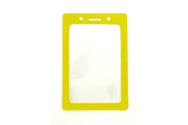 "1820-3009 Clear Vinyl Vertical Badge Holder with Yellow Color Frame, 2.25"" x 3.44"""