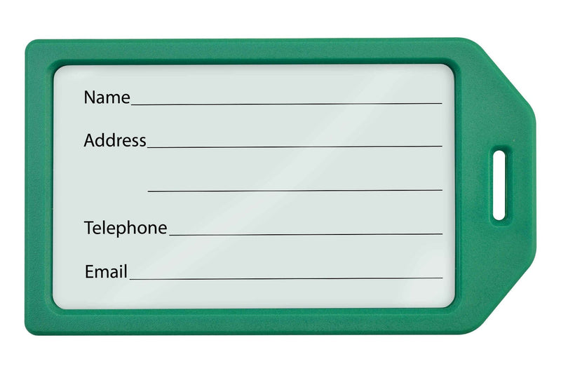 1840-6204 Green Rigid Plastic Luggage Tag Holder