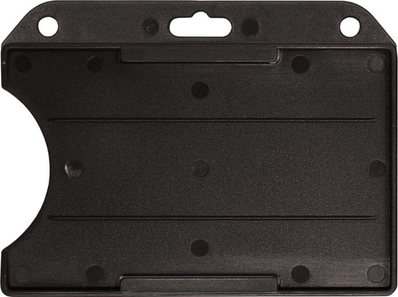 "Black Rigid Plastic Horizontal Open-Face Card Holder, 3.56"" x 2.68"""