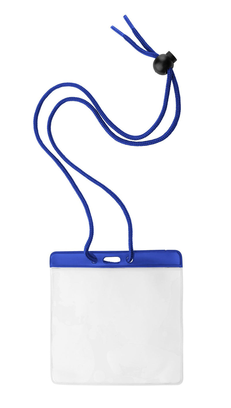 "1860-2902 Vinyl Horizontal Holder with Blue Color Bar and Neck Cord, 4.38"" x 3.75"""