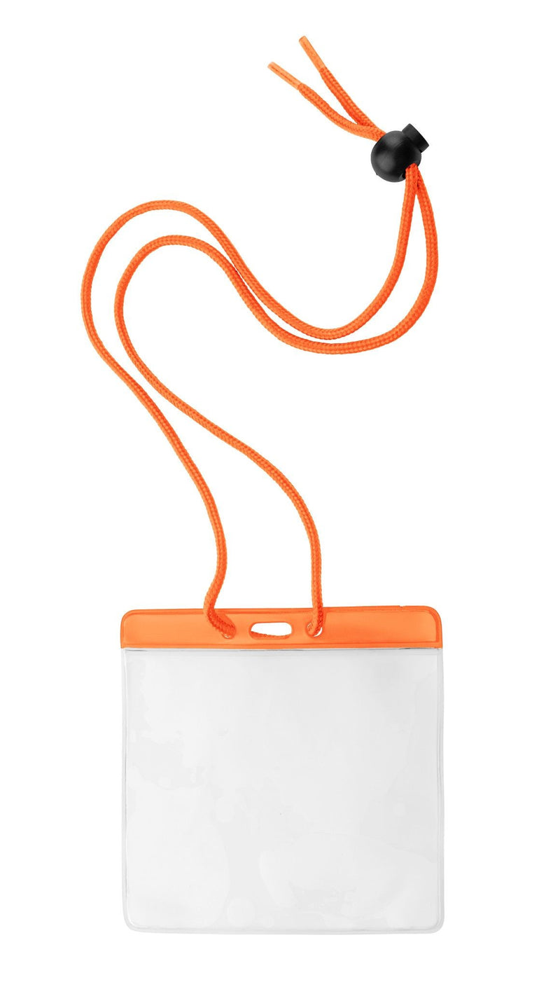"1860-2905 Vinyl Horizontal Holder with Orange Color Bar and Neck Cord, 4.38"" x 3.75"""