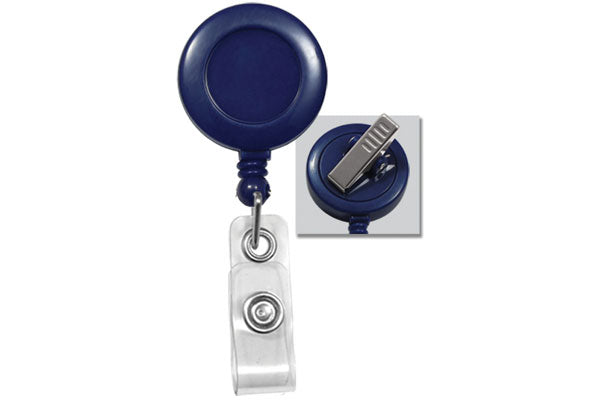 2120-7602  Blue Swivel back badge reel & strap clip