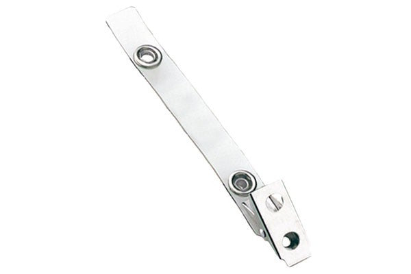 2105-1320 Clear Vinyl Strap Clip with 2-Hole Stainless Steel Clip