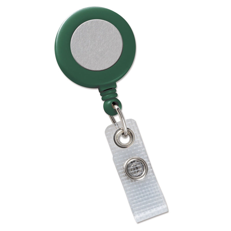 2120-3104 Green Badge Reel with Silver Sticker, Reinforced Vinyl Strap & Belt Clip
