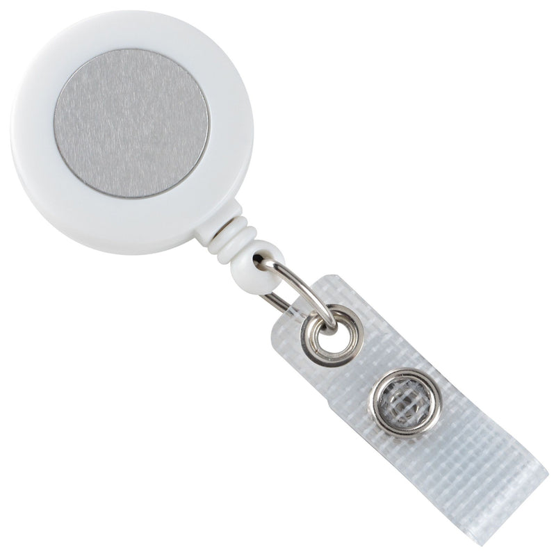2120-3108 White Badge Reel with Silver Sticker, Reinforced Vinyl Strap & Belt Clip