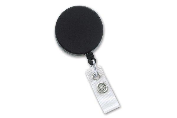 2120-3300 Black /Chrome Heavy-Duty badge Reel with Nylon Cord Reinforced Vinyl Strap & Belt Clip