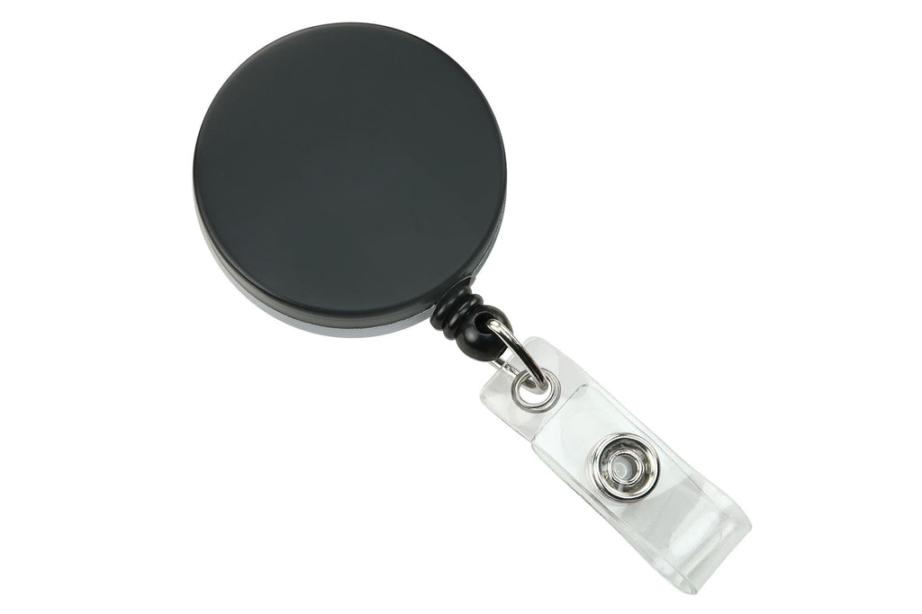 2120-3310 Black /Chrome Heavy Duty Badge Reel with Nylon Cord Clear Vinyl Strap & Belt Clip