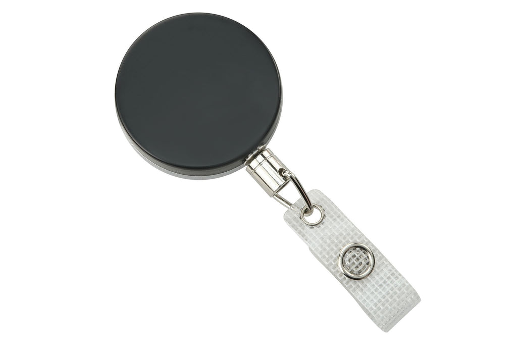 2120-3375 Black /Chrome Heavy-Duty badge Reel with Link Chain Reinforced Vinyl Strap & Belt Clip