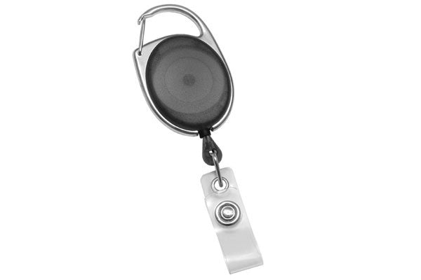 2120-7051 Translucent Black Premier Carabiner Badge Reel with Clear Vinyl Strap