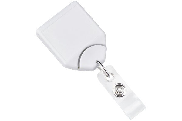2120-7808 White B-REEL™ Badge Reel with swivel-clip with teeth
