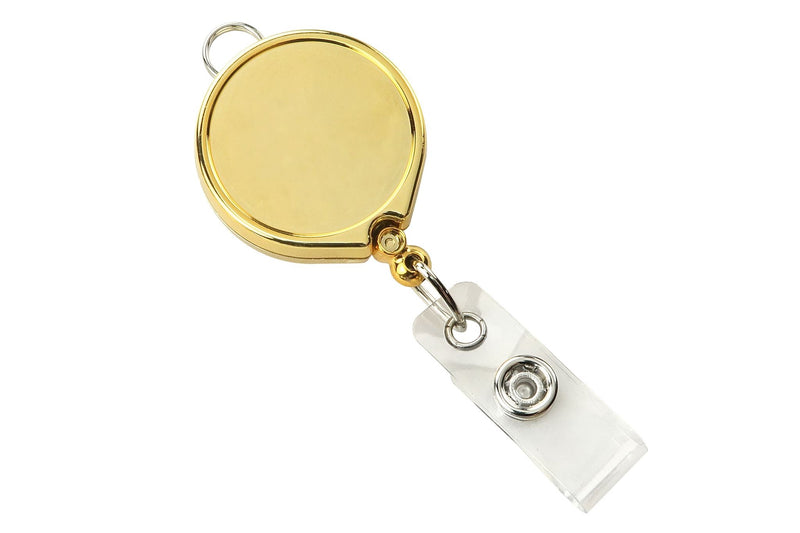 2124-3029 Gold Metallic Badge Reel with Clear Vinyl Strap & Belt Clip