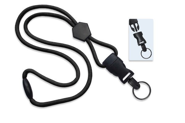 "2135-4541 Black 1/4"" (6 mm) Lanyard with Diamond Slider & DTACH Split Ring"
