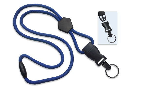 "2135-4542 Royal Blue 1/4"" (6 mm) Lanyard with Diamond Slider & DTACH Split Ring"