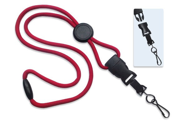 "Red 1/4"" (6 mm) Lanyard with Round Slider & DTACH Swivel Hook"