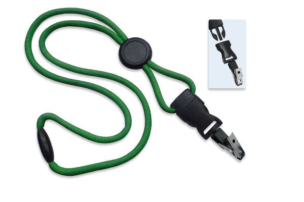 "2135-4594 Green 1/4"" (6 mm) Lanyard with Round Slider & DTACH Bulldog Clip"