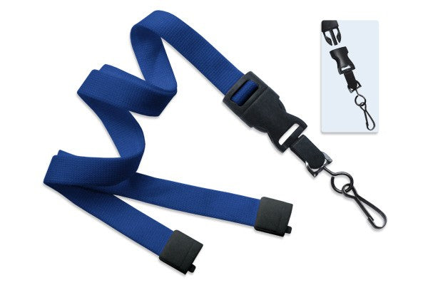 "2135-4646 Royal Blue 5/8"" (16 mm) Lanyard with Breakaway & DTACH Swivel Hook"