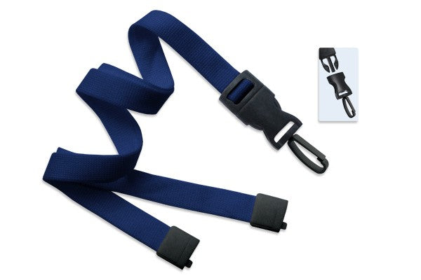 "Navy Blue 5/8"" (16 mm) Lanyard with Breakaway & DTACH Plastic Swivel Hook 2135-4655"