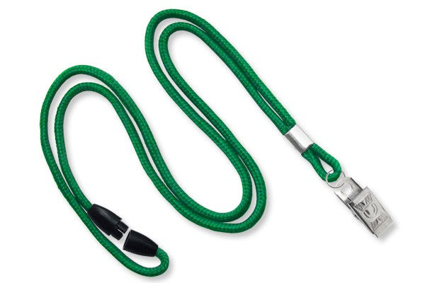"2137-2014 Green Round 1/8"" (3mm) Lanyard w/ Breakaway & Nickel Plated Steel Bulldog Clip"
