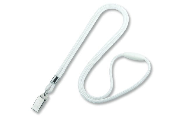 "2137-2018 White Round 1/8"" (3mm) Lanyard w/ Breakaway & Nickel Plated Steel Bulldog Clip"