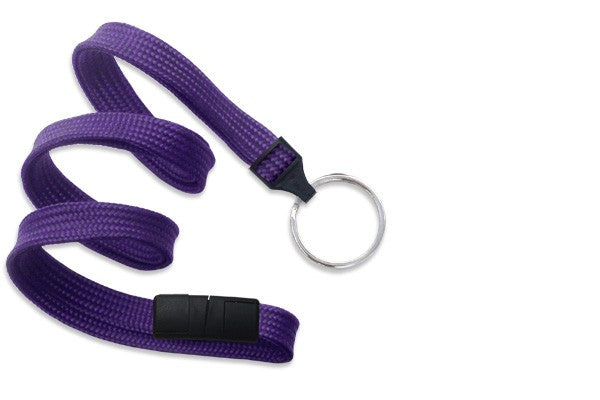 "2137-3663 Purple 3/8"" (10 mm) Breakaway Lanyard with Nickel-Plated Steel Split Ring"