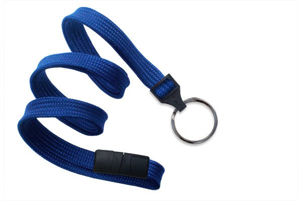 "2137-3672 Royal Blue 3/8"" (10 mm) Breakaway Lanyard with Black-Oxide Split Ring"