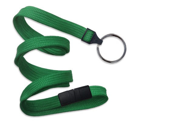 "2137-3674 Green 3/8"" (10 mm) Breakaway Lanyard with Black-Oxide Split Ring"