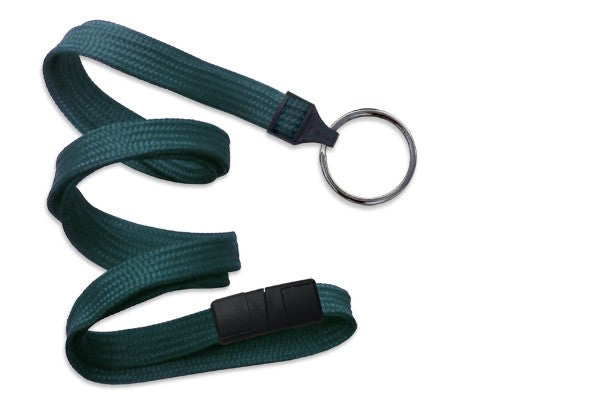 "2137-3686 Teal 3/8"" (10 mm) Breakaway Lanyard with Black-Oxide Split Ring"