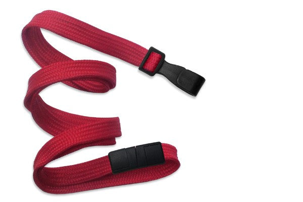 "Red 3/8"" (10 mm) Breakaway Lanyard with Wide Plastic Hook"