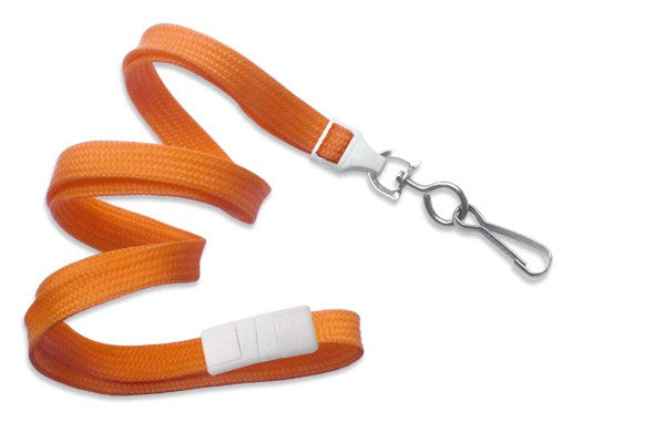 "Orange 3/8"" (10 mm) Breakaway Lanyard with Nickel-Plated Steel Swivel Hook 2137-5005"