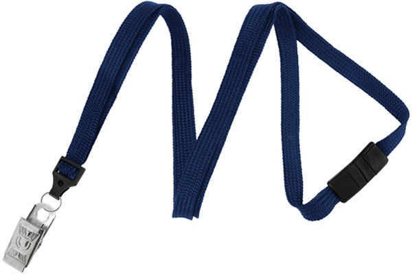 "Navy Blue 3/8"" (10 mm) Breakaway Lanyard with Nickel-Plated Steel Bulldog Clip 2137-6003"