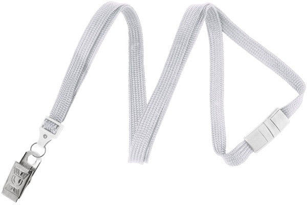 "2137-6008 White 3/8"" (10 mm) Breakaway Lanyard with Nickel-Plated Steel Bulldog Clip"