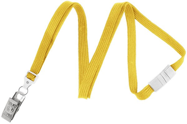 "Yellow 3/8"" (10 mm) Breakaway Lanyard with Nickel-Plated Steel Bulldog Clip 2137-6009"