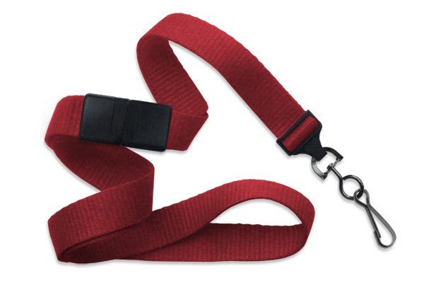 "Red 5/8"" (16 mm) Breakaway Lanyard with Black-Oxide Swivel Hook"